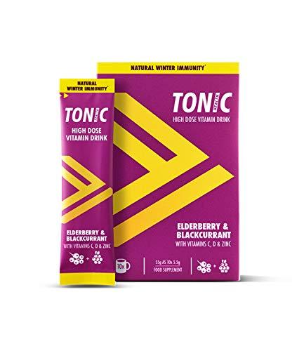 Tonic Health High Dose Immunity Drink x50 - (Vitamin C 1500mg, VIT D & Zinc) Elderberry & Blackcurrant - 5 Packs (10 x 5.5g sachets per Pack) | 60p per Serve