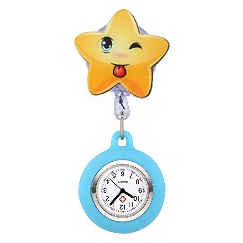 JSDDE Uhren Krankenschwester FOB Uhr Pulsuhr Nurse Watch Kitteluhr Silikon Cartoon Stern Taschenuhr Schwesternuhr Himmelblau
