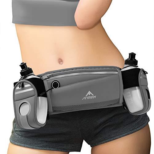 ANMRY Running Belt with Water Bottle,Running Hydration Belt Waist Packs Bag with Adjustable Belt | 2 Pockets | 2 10OZ Water Bottles for Running Hiking Cycling Marathon for 6.5 Inch Smartphones- Gray
