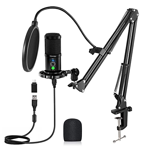 Mercase Studio Professional Condenser USB Microphone Computer Kit with Mute...