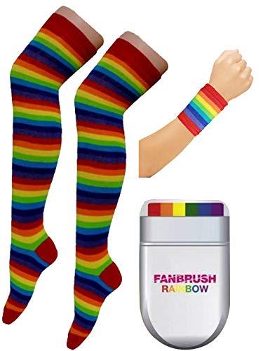Labreeze Regenbogen Cowboy Hut Krawatte Fan Pinsel Socken Armband Gay Pride Party Kostüm