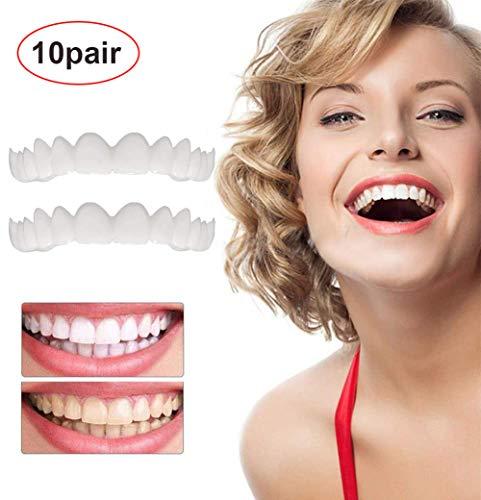 DDT 10 Paare Provisorischer Zahnersatz Schönes Lächeln Furnier Zahnspangen Set Oben Und Unten Kosmetische Zähne Kosmetische Passt Am Bequemsten Prothesenpflege/Mundpflege