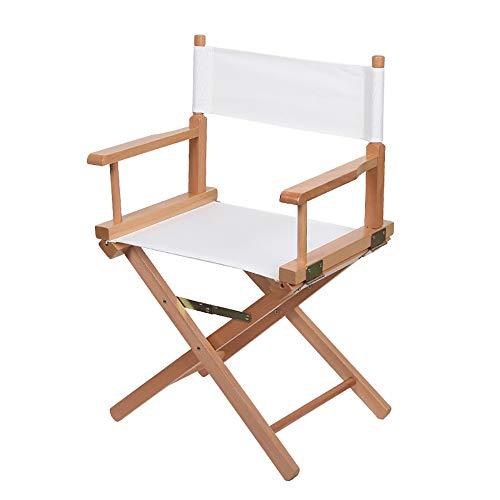 YANGMAN Chaise de metteur en scène, Chaise légère maquilleuse Pliable en hêtre, Chaise de Peintre, mobilier d'extérieur, pour la randonnée, Pique-Nique, etc, Hauteur d'assise 44 cm,Whitecloth