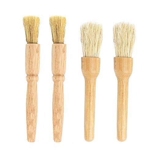 4 Piezas Cepillo de Limpieza para Molinillo de Café, Bambú/Madera de Caucho y Cerdas Naturales - Adecuado para la Limpieza...