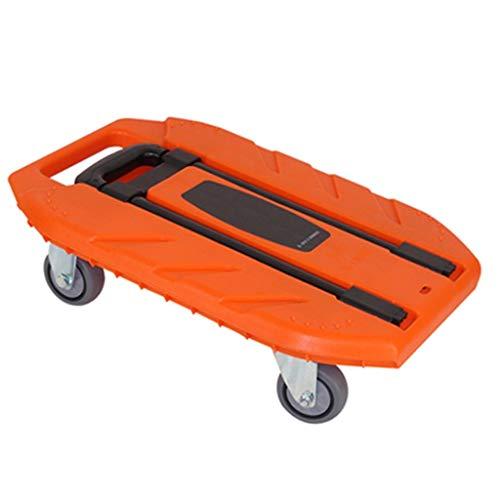 Handwagen Wagen Orange Faltwagen Home Truck Tragendes 400kg Tragbarer Einkaufsanhänger Handgepäckwagen (Color : A, Size : 50 * 35 * 16.1cm)