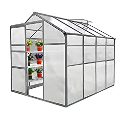 Aluminium and polycarbonate walk-in greenhouse 10 x FREE plant hangers included Shatterproof and UV-resistant polycarbonate sheets Choose to make your door either left / right hand opening