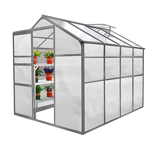 Greenhouse Polycarbonate, Clear, Aluminium Frame, Silver, Growhouse with Window & Sliding Door 6ft x 8ft