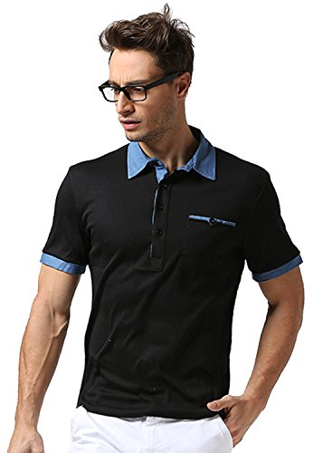 Whatlees Mens Short Sleeve Button Down Contrast Collar Breathable Ribbed Knit Golf Office Polo Shirt With Front Leather Pocket B481-Black-L