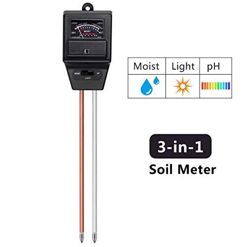 LeHatori Soil Tester, 3-in-1 Soil Test Moisture Light pH Meter Testing Tool Kit Indoor Outdoor Plants Vegetables Herbs Care Soil Sensor for Home, Garden, Farm and Lawn (Black)
