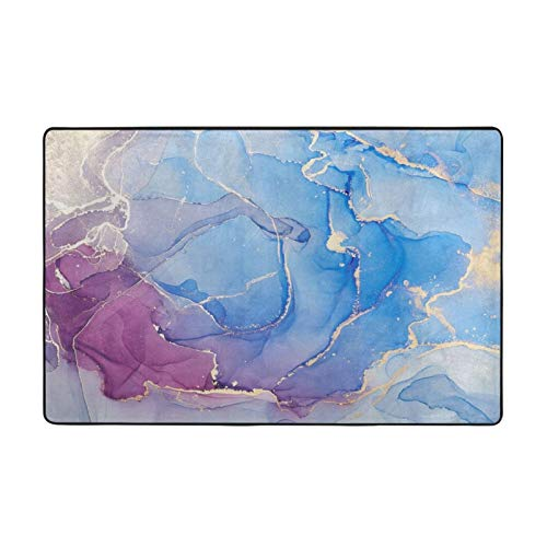 Modern Blue Art Marble Large Super Soft Area Living Room Non-Slip Rugs Bedroom Rug for Play Home Decorator Floor Carpets 60 x 39 in