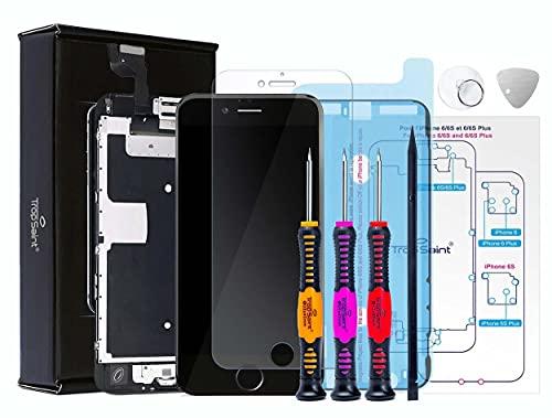 Trop Saint Kit di Riparazione Vetro Schermo per iPhone 6S - Nero Ricambio Completo LCD Display - con Vetro Temperato, Instruzioni, Attrezzi e Adesivo Impermeabile