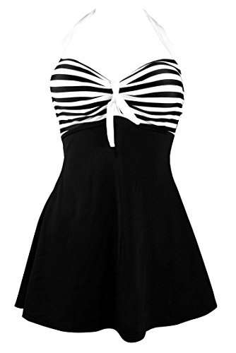 COCOSHIP Black & White Striped Plus Size Vintage Sailor Pin Up Swimsuit One Piece Skirtini Cover Up Beachwear XXXXL(US18)