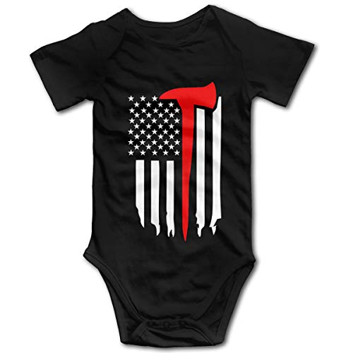 Arromper Thin Red Line Firefighter Axe Boy's & Girl's Short Sleeve Jumpsuit Outfits Black