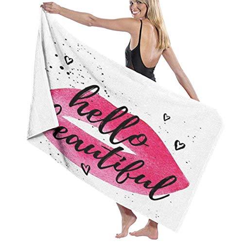 DaiMex Toallas de Playa 80X130CM Forma de Labios en Acuarela con una Frase de Amor con Corazones Toallas de baño con Tema de San Valentín Toalla de Viaje