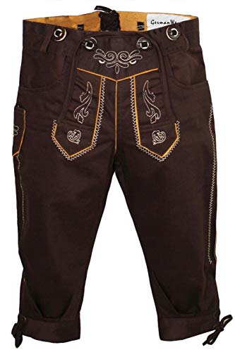 German Wear Jungen Kniebundhosen Kinder Hose Jeans Hose kostüme mit Hosenträgern, Farbe:Dunkelbraun, Größe:164