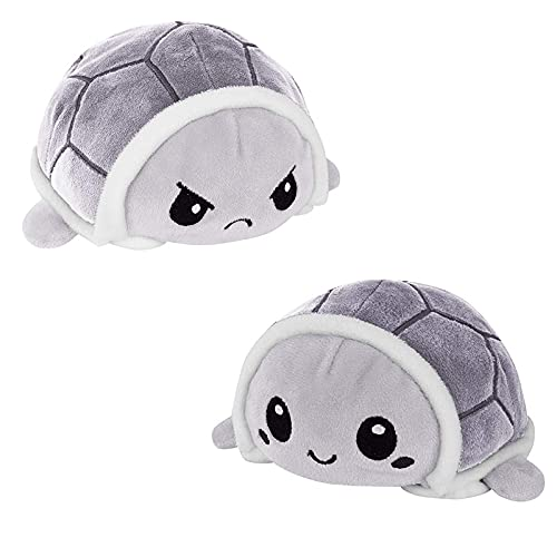 AISHNA Tortuga de peluche, tortuga de peluche de doble cara, dulce muñeca reversible juguete infantil regalo de peluche pequeñas tortugas juguete para niñas niños (gris)