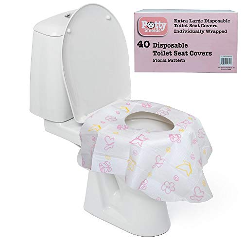 Disposable Toilet Seat Covers for Kids & Adults, 40 Pack - Protect from Public Toilet Germs While Potty Training & More - Extra Large, Waterproof, Portable, Individually Wrapped - Pink/Floral