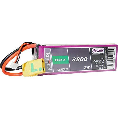 Hacker Modellbau-Akkupack (LiPo) 7.4 V 3800 mAh Zellen-Zahl: 2 20 C Softcase XT90-S