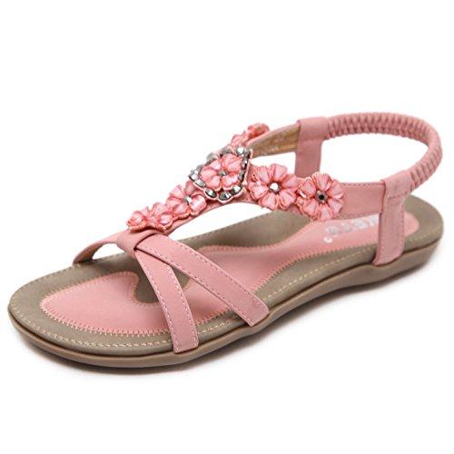 Sandalen Damen Sommer Strand Schuhe Flach Bohemia Zehentrenner Sandaletten mit Strass Blumen Größe 39