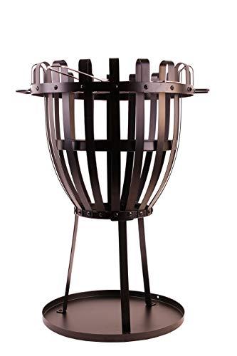Feuerkorb Metall 48cm x Ø68cm Grill Feuerstelle Terasse Garten mit Bodenplatte Kohleschale Grillrost Stabil Pulverbeschichtet Schwarz Eisen