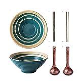 AWYGHJ Cuencos japoneses asiáticos de Ramen de cerámica, Juego de 2 Cuencos de Sopa Pho Grandes de 50 oz con Palillos de cucharones de Sopa, Fondo Antideslizante, para Thai Miso Udon