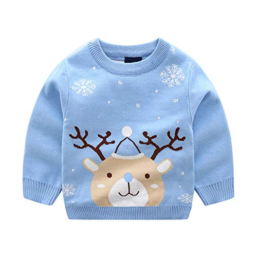 Christmas Kids Baby Girls Boys Long Sleeve Elk Snow Tops Suéter Xmas Knitting Cotton 100% Outwear Toddler Children Clothes 2-8Y azul celeste 4-5 Años