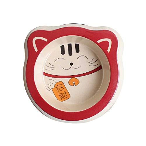 Gato Lindo Afortunado De Fibra De Bambú La Alimentación Del Gato De Dibujos Animados Recipiente De Color Rojo Agua De La Taza Del Hogar Del Pequeño Gato Del Perro Casero Fuente Alimentaria Antidesliza
