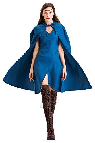 tianxinxishop Daenerys Targaryen - Disfraz de madre de dragones para Halloween, vestido medieval de reina con capa azul