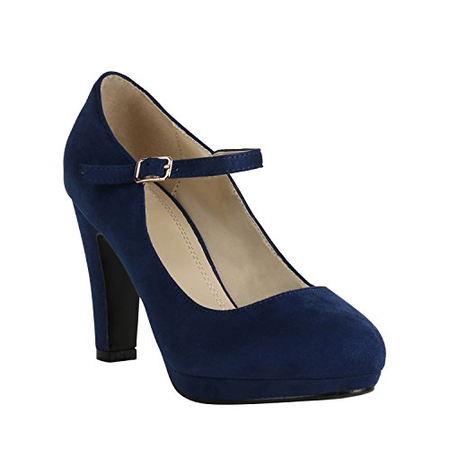 Damen Schuhe Plateau Pumps Lack Spangenpumps High Heels Blockabsatz 157226 Dunkelblau Brito 37 Flandell