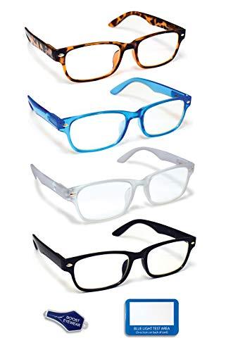 Boost Eyewear - Gafas de lectura con bloqueo de luz azul, 4 unidades, lentes antirreflejos, marcos de estilo tradicional en 4 colores de moda, para hombres y mujeres, con bisagras de resorte (colores surtidos, +1,25)