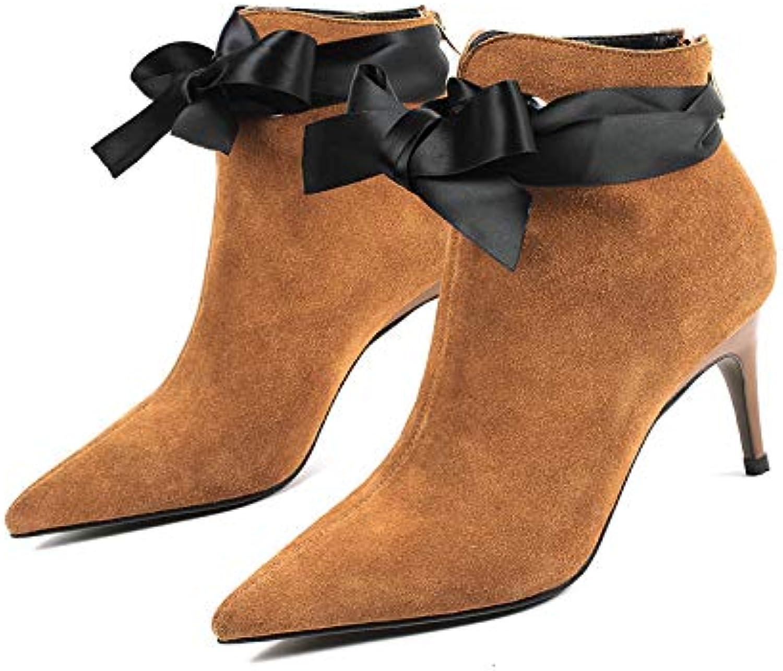 Frauen Stiefel Herbst Winter Stiefeletten Vintage Style Stiletto Bow Knoten 7,5 cm Heels Wildleder Echtes Leder Spitz Schuhe, Einfarbig B07HRV631D  Modern