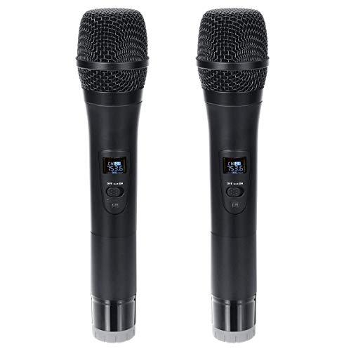 Microfoon Professionele UHF Dual Wireless Handheld Karaoke microfoon met een 3,5 mm-ontvanger Portable Speaker Karaoke Machine Karaoke Zakelijke Bijeenkomst (Color : Black, Size : One size)