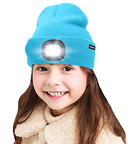 ATNKE Kids LED beleuchtete Mütze mit Licht, USB Wiederaufladbare 4 LED Scheinwerfer wasserdichte Winterwärmer Strick Nachthüte mit leichten Jungen Mädchen/Sky Blue
