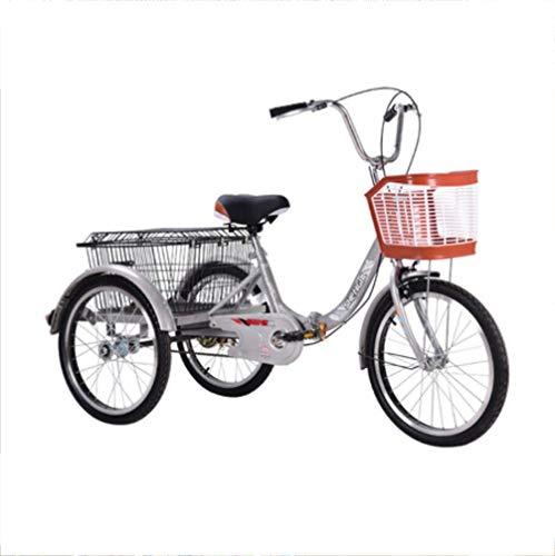 Triciclo Rickshaw de 3 Ruedas para Adultos, una Sola Cadena Plegable, Canasta para Compras, excursiones, Caminar, Scooter para Ancianos, Marco de Acero de Alto Carbono con Pedal de 20 Pulgadas