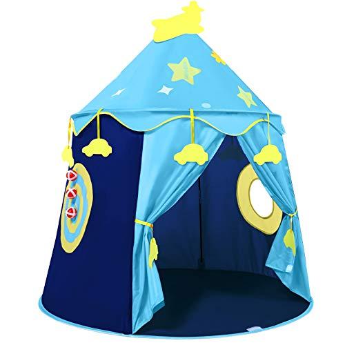 Tienda Campaña Infantil con Ventana,fácil de Montar Tiendas de Campaña Infantiles para Interiores y Exteriores con Bolsa de Transporte,Tienda de Juego para niños con Placa de puntuación(Azul)
