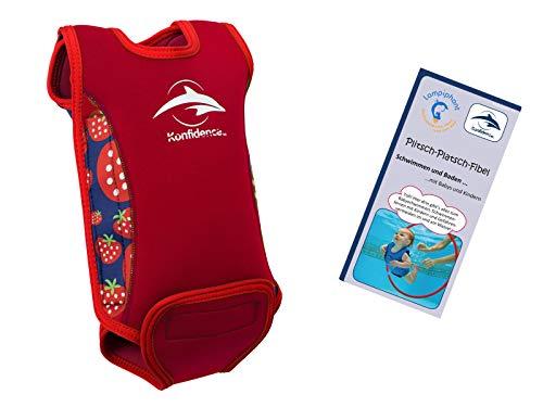 Lampiphant® + Konfidence Babywarma, Schwimm-Anzug mit Plitsch-Platsch-Fibel, Erdbeere, 6-12 Monate