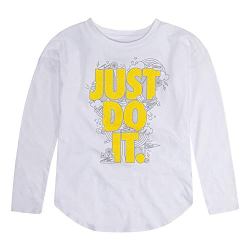 NIKE Children's Apparel Girls' Little Long Sleeve JDI Graphic T-Shirt, White/Yellow/Grey, 6