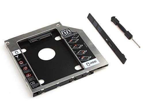 Universal 9,5mm 2nd Box Caddy Bay SATA HDD SSD a CD DVD RW BD BLU Ray ROM ODD Adaptador de Unidad de Disco Duro SSD Drive Bay Bandeja para portátil Adaptador de Bay Adaptador SSD | Aluminio |