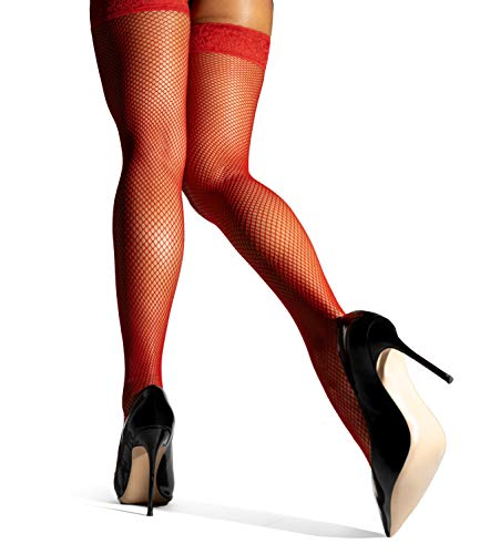 sofsy Fishnet Thigh High Hold Up Women Stockings, Silicone Lace Top Sheer Nylon Lingerie Hosiery [Made in Italy]