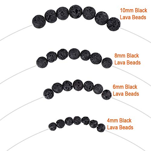 Paxcoo 500pcs Lava Beads Black Lava Rock Beads Kit with Elastic String for Essential Oils Adult Jewelry Making Supplies Bracelets