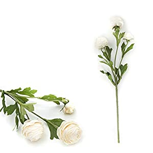 Artificial Flower 3 Heads Artificial Ranunculus Bouquet DIY Silk Flower for Bridal Wedding Decor