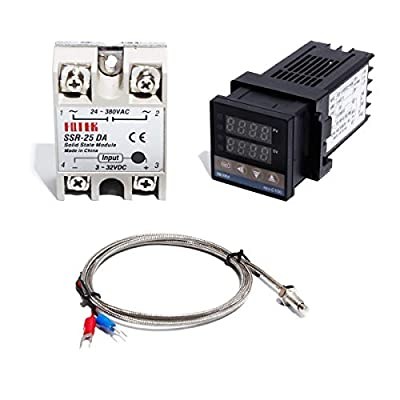 Digital PID REX-C100 Temperature Controller and SSR Relay and K Thermocouple