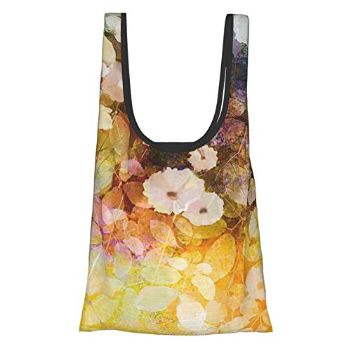Watercolor Flower Home Decor Vintage Trippy Floral Garland With Soft Romantic Leaves Paint Print Multi Reusable Grocery Bags, Eco-Friendly Shopping Bag
