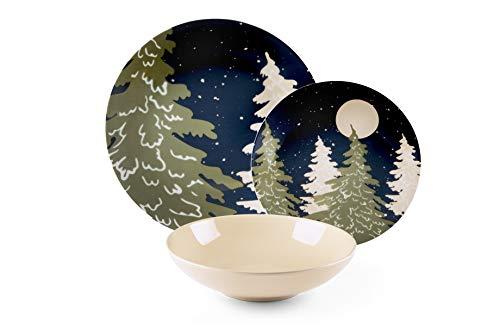Excelsa Notturno Service d'assiettes 18 pièces, porcelaine et céramique, multicolore