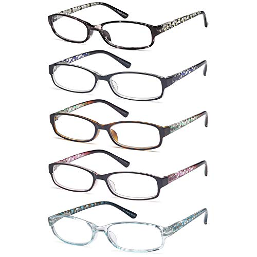 Gamma Ray Women's Reading Glasses 5 Pair Print Ladies Fashion Readers for Women - 2.50