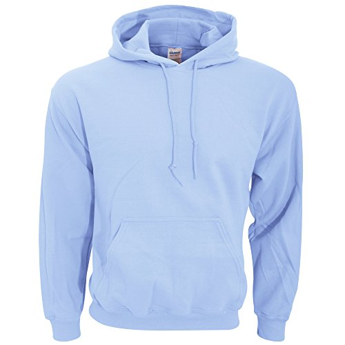 Gildan Men's Rib Knit Pouch Pocket Hooded Sweatshirt, Light Blue, X-Large