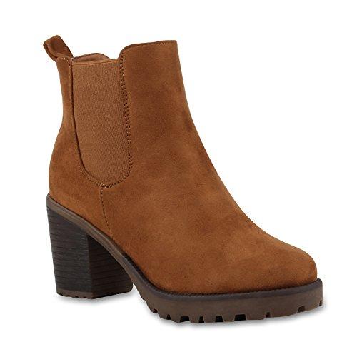 stiefelparadies Damen Stiefeletten Chelsea Boots Wildleder-Optik Schuhe High Heel Kurzschaft-Stiefel Booties 110408 Hellbraun 39 Flandell