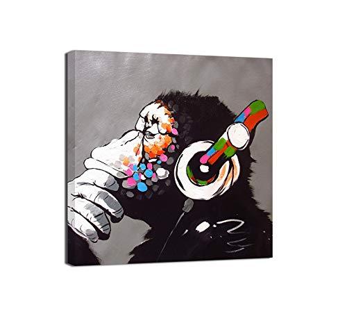 Canvashop Quadri Moderni cm 40x40 Banksy DJ Monkey Stampa su Tela Canvas Quadro Bansky Scimmia opere Street Art