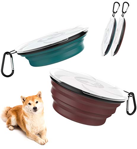 Lewondr 1000ml Collapsible Dog Bowl, [2 Packs] Silicone Food & Water Travel Pet Bowl Portable with Lids Expandable Pet Feeding Watering Cup Dish for Walking, Kennels & Camping - Dark Cyan+Brick Red