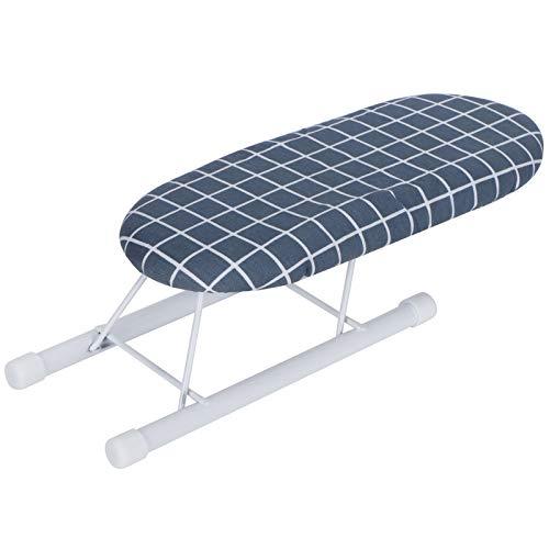 Antideslizante plegable Mini accesorios de planchado extraíble Mesa de planchar para el hogar (rejilla azul oscuro)
